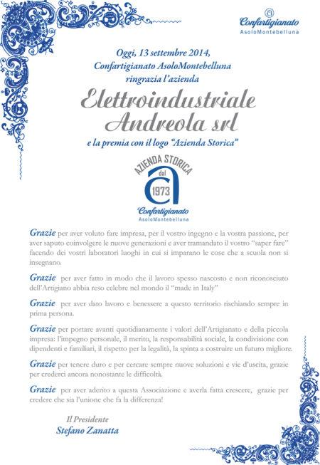 Attestato Elettroindustriale Andreola Srl Azienda storica Confartigianato Montebelluna Asolo